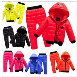 Wholesale Skiing Jacket Boys - Wholesale- Children Winter Clothing set Boys Ski Suit Girl Hooded Down Jacket Coat +Pants 3-8 Years Kids Clothes For Baby Boy Baby Girl
