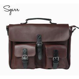Wholesale Computers Keys - Wholesale- Crazy Horse PU Leather Men's Briefcase Vintage Men Messenger Bags shoulder bag Men Business Handbags Contract Bags Laptop Bag