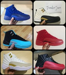 Wholesale Red Taxi - 2017 Mens Air Retro 12 Red Flu Game Chinese New Year Taxi Gamma Blue Basketball Shoes Sneakers for Men Outdoor Sports Shoes Size US8-US13