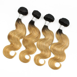 Wholesale Blonde Weft Wavy Human Hair - Colored Peruvian Hair 400g Body Wave T1B 27 Blonde Ombre Hair Short Bob Style Sexay Wavy Virgin Human Hair Weaves