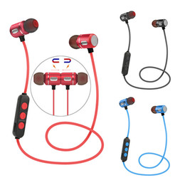 Wholesale Iphone Earbuds Usb - AX-09 Magnetic suction Sport Bluetooth earphones Stereo Wireless in-ear earbuds For Iphone 6S 7Plus S8 Universal Phones