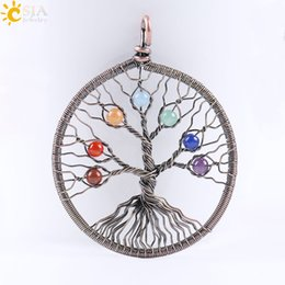 Wholesale Green New Jade Beads - CSJA New Tree of Life Handmade Jewelry 7 Chakra Stone Bead Antique Copper Wire Whole Wrap Pendant Leather Rope Strands Strings Necklace E268