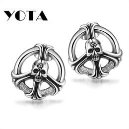 Wholesale Earrings For Men Skulls - Skull Stud Iron Stainless Steel Skeleton Earring 316L YE001 for Man Punk Fashion Jewelry 10 pcs