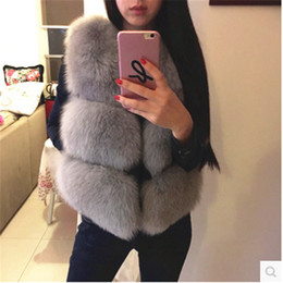 Wholesale Fake Mink Coats - 10 Color Winter Jacket Women Fox Fur Coats Faux Fur Vests Mink Waistcoat Fake Fur Vest Manteau Femme Hiver Fourrure Christmas 92