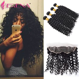 Wholesale Premium Maxglam Deep Wave Curly Virgin Brazilian Hair Weave Bundles With x13 Lace Closure Frontal Mink Brazilian Hair