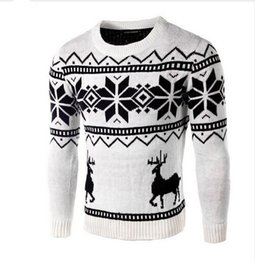 Wholesale Men S Sweater Deer - Wholesale- Sweaters Male 2017 Men O-Neck Long Sleeve Cotton Fashion Christmas Sweater with Deer Pattern Brand Clothing Slim Pullovers