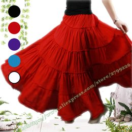Wholesale Long Cotton Skirts Summer - 5-layer Stitching Gypsy Bohemian BOHO Full Circle Cotton Maxi Skirt Dancing Spain Pleated Long Skirts for Womens red black white