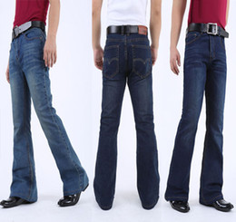 Wholesale Mens Flare Jeans - Wholesale- Mens Flared Jeans Boot Cut Leg Flared Slim Fit Mid Waist Classic Denim Jeans Pants Bell Bottom Jeans casual elastic Denim Pants