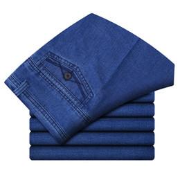 Wholesale Wholesale Man Jeans - Wholesale- Business Men's Stretch Jeans With Cotton Middle Waist Jeans Large Size Men's Trousers Jeans Men's Straight Pants Size 31-42