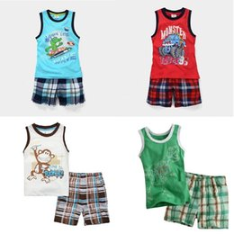 Wholesale Monkey Boy Top - Monkey Baby Boy Clothes Suit Summer Sleeveless Boys T-Shirts Pants 100% Cotton Tank Tops Tee Shirt Grid Panties 2-Piece Singlets Outfits