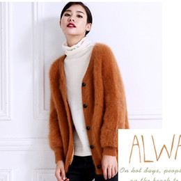 Wholesale Ladies Mink Jackets - Wholesale- 2017 NEW women's knitted mink cashmere cardigan female knit sweater coat jacket ladies outwear waist coat