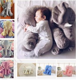Wholesale Soft Plush Elephant Toy - Free Shipping 5 color elephant pillow baby doll children sleep pillow birthday gift INS Lumbar Pillow Long Nose Elephant Doll Soft Plush