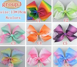 Wholesale Large Bows Clips - Girls RARE Jojo hair bow 7inch 5inch Large rhinestone rainbow ribbon hair bow clip 20pcs 3groups choose