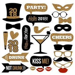 Wholesale Photo Booth Photobooth - 32pcs lot 2018 Happy New Year DIY Photo Booth Props Hat Mustache Party Masks Lips Photobooth Photography Charistmas