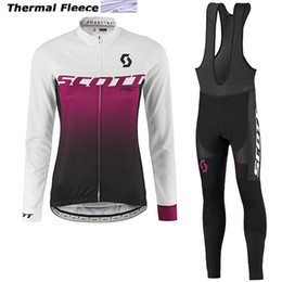 Wholesale Scott Winter Thermal - 2017 scott winter thermal fleece cycling jerseys long sleeve bicycle mtb bike winter cycling clothes sport kits bicycle women wear AK-82