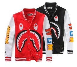 Wholesale Long Sleeve Shirts Rhinestones - The tide card shark mouth stamp casual sweater men and women couples Jackets Baseball Shirt Size loose coat