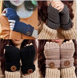 Wholesale Check Arm - Women Autumn Gloves Wool Female Mittens Unisex Arm Pure Color Glove Button Knitted Lengthen Half Finger Guantes Button Luvas