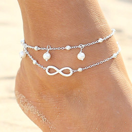 Wholesale Beach Lovers - High quality Lady Double 925 Sterling silver Plated Chain Ankle Anklet Bracelet Sexy Barefoot Sandal Beach Foot Jewelry