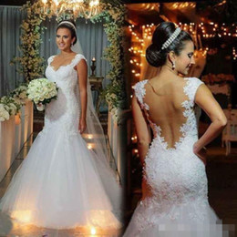 Wholesale Sweetheart Sheer Beaded Lace Mermaid - Princess 2017 Mermaid Wedding Dresses Cap Sleeves Beaded Zipper Vintage Ivory Lace Trumpet Wedding Bridal Gowns Long Court Train Plus Size
