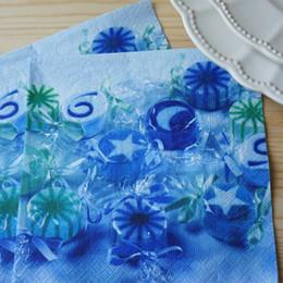 Wholesale Blue Napkins Paper - Wholesale- 2 x Decoupage Paper Napkins-Paper + Design 33*33 cm 3-ply blue paper napkins serviettes for wedding Blue sweets napkin-20750