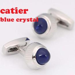 Wholesale Cufflink New - CT NEW New Brand Cufflinks Novelty Blue Opal Design Gold Plating Best Men CuffLinks For Gift