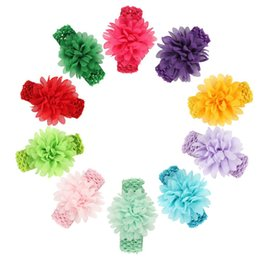 Wholesale crochet wide headband flower - Baby Headbands Flowers Kids Chiffon Hair Accessories Headband with Wide Elastic crochet band Girls stretchy hair bands