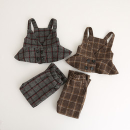 Wholesale Short Pant Tank Top - Autumn Kids Plaid Sets Baby Girl Wool blends Tank tops with Short pants 2017 Babies Fashion Casual Outfits