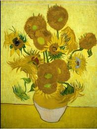 Lona de pintura a óleo de girassol on-line-Enquadrado girassol Vincent van Gogh, Pure Pintura Handpainted Art Oil On Canvas Wall Decor multi Tamanhos frete grátis Vg023