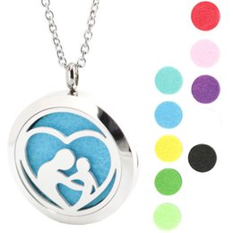 Wholesale Pendant Travel - mother love baby Travel yoga Aromatherapy Essential Oil surgical Stainless Steel Perfume Diffuser Locket Necklace with chain and pads