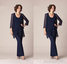 Wholesale Groom Trousers - Dark Navy Blue Chiffon Three-Pieces Mother of the Bride Pant Suits Jackets for Mothers Bride Trousers 3 4 Long Sleeve Formal Groom 2017