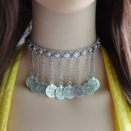 Wholesale Metal For Jewerly - idealway 4 Style Bohemian Vintage Style Choker Silver Plated Carving Metal Flower Coin Tassels Necklace for Women Jewerly