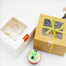 Wholesale White Paper Plastic Packaging - kraft and White Card Paper Cupcake Box 4 Cup Cake Holders Muffin Cake Boxes Dessert Portable Package Box Tray Gift Favor