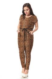 Wholesale Jumpsuits Women Leopard - Wholesale- Plus size leopard print jumpsuit women with Sashes decoration Sexy v-neck jumpsuit Loose cotton jumpsuits 3xl-7xl 004