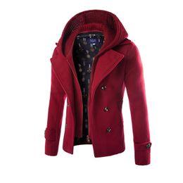 Wholesale Men Winter Camel Coat - Wholesale- High Quality Men Woolen Jacket Coats Camel Detachable Hat Hoodie Homme Overcoat Fashion Autumn Winter Warm England Slim Pea Coat