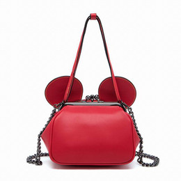 Wholesale Ear Locks - Wholesale-Bearberry 2016 Women Leather Handbag With A Kiss Lock Mouse Ear Messenger Crossbody Bags For Fashion Girls Clutches Purses Party