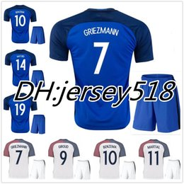 Wholesale Best quality Euro France Home blue soccer Jersey Kits GRIEZMANN POGBA MARTIAL Giroud Away white Football shirts