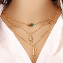 Wholesale Necklaces For Prom Dresses - The cross necklace Three layers necklaces for girls price for evening dresses for women indian style prom dresses girlfriends birthday