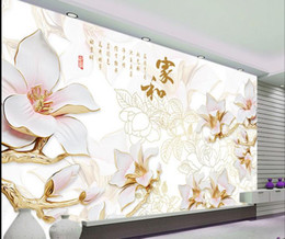 Wholesale modern magnolia - Custom any size White magnolia color carved high-end home and rich living room TV wall