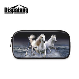 Wholesale Horse Stationery - Wholesale- Animal Print Kids Pencil Bag Case Horse Women Makeup Bag Students Stationery Storage Ladies Cosmetic Case Office School Supplies