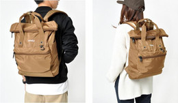 Wholesale Japan Style Canvas School Bags - Free shipping New Anello Japan Unisex Backpack School travel Laptop Bag Handbags Polyester Original Waterproof Bags