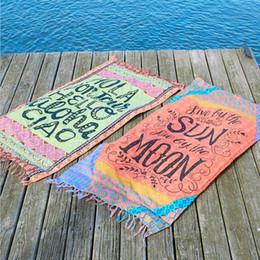 Wholesale Cotton Beach Sarongs - 4 Style Tassel Beach Towel Rectangle Bikini Cover Ups Bohemian Hippie Beachwear Beach Sarongs Shawl Bath Towel Yoga Mat