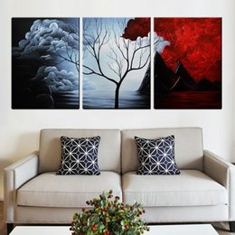 Wholesale Modern Abstract Flower Canvas Paintings - 30*40Cm Living Room Home Decorative Paintings Oil Painting Modern Flower Spray Paints Unframed Abstract Paintings 3 Panels