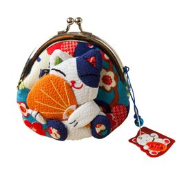Wholesale Kimono Purse - Wholesale- 1 pc Japanese style,Lucky cat coin purse,coin bags,Zero Wallet,Japanese kimono fabric coin bag 8 styles free shipping monederos