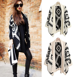 Wholesale New Aztec Tribal - Wholesale-New Fashion Womens Geometric Tribal Aztec Long Sleeve Knitted Cardigan Sweater Tops