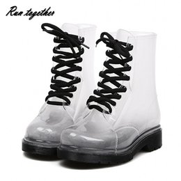 Wholesale Clear Rain Boots Womens - Wholesale-Free shipping New fashion Womens Rain boots candy Transparent Low Heels Water Shoes for Female Retro Martin Rain Boots