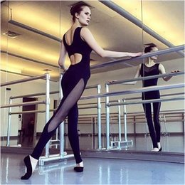 Wholesale One Size Women S Leggings - 2017 newest Slim body trousers sports yoga fitness leggings stitching pants Net yarn splicing Yoga Sports Jumpsuits Outdoor Backless z022