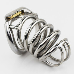 Wholesale Bdsm Steel Lock - New Stainless Steel Male Chastity Device 80mm Cock Cage Peins Lock BDSM Sex Toys For Men Chastity Belt