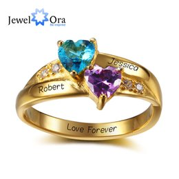 Wholesale Gold Birthstone - Gold Plated Personalized Engrave Birthstone Heart Ring 925 Sterling Silver Classic Cubic Zirconia Ring ( RI102346) 17401