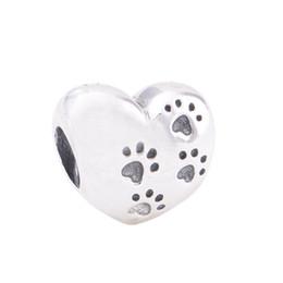 Браслет из лапы онлайн-Аутентичные стерлингового серебра 925 бусины мой сладкий домашнее животное Шарм подходит Европейский Пандора стиль ювелирные изделия браслеты ожерелье 791262 собака лапа