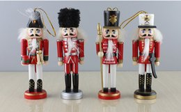 Wholesale Cartoons Pink Colour - 4pcs per lot 13cm height wood made the Nutcrackers Christmas Ornaments pure manual coloured drawing soldiers Christmas gift